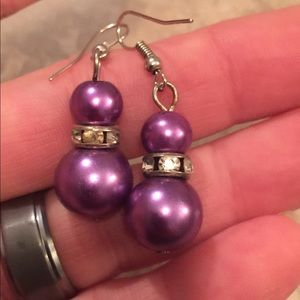 Beautiful irredentist purple crystal drop earrings